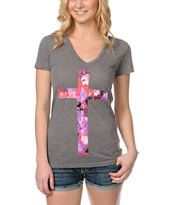 Empyre Girls Live Fast Heather Charcoal V-Neck Tee Shirt