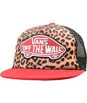 Vans Girls Beach Leopard & Red Trucker Hat