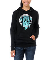 Crooks and Castles Girls Weaved Medusa Black Pullover Hoodie