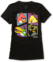 Fifth Sun Girls Angry Birds Pattern Style Black Tee Shirt