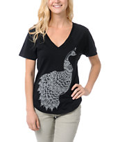 Element Pea Black V-neck Tee Shirt
