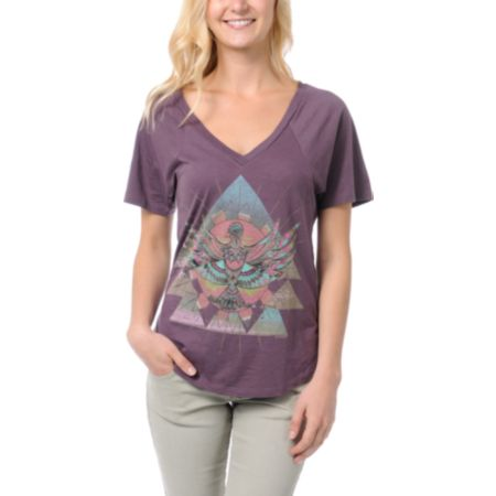 Element Sunbird Purple V-neck Tee Shirt