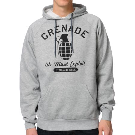 Grenade Standard Issue Heather Grey Pullover Hoodie
