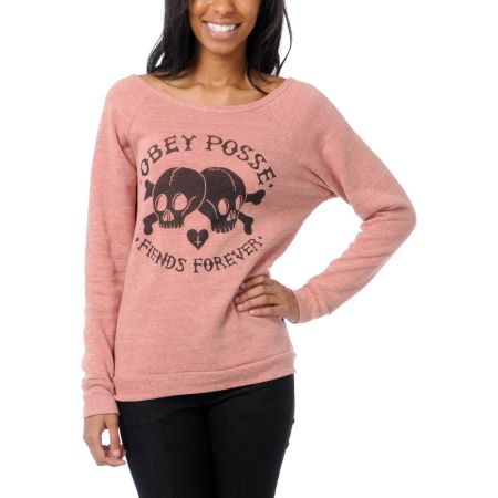 Obey Girls Fiends Forever Heather Red Crew Neck Sweatshirt
