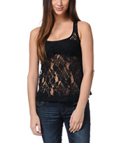 Love, Fire Black Lace Tank Top