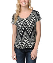 Empyre Girls Hatfield Black & Cream Zig Zag Tee Shirt