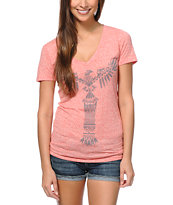 Empyre Girls Totem Heather Coral V-Neck Tee Shirt