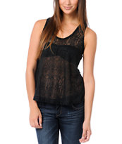 Lunachix Black Crochet Lace Racerback Tank Top
