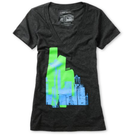 Casual Industrees Girls Raw City Charcoal V-Neck Tee Shirt