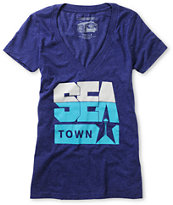 Casual Industrees Girls Sea Town Navy Blue Tee Shirt