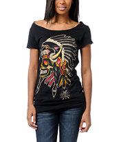Sullen Girls Tomahawk Black Wide Neck Tee Shirt