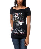 Sullen Girls Rendezvous Black Wide Neck Tee Shirt