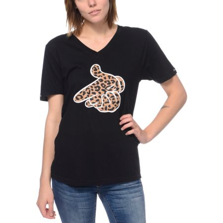 Crooks and Castles Girls Air Gun Leopard Black Tee Shirt