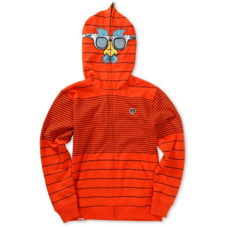Volcom Boys Fuzzy Red Face Mask Hoodie