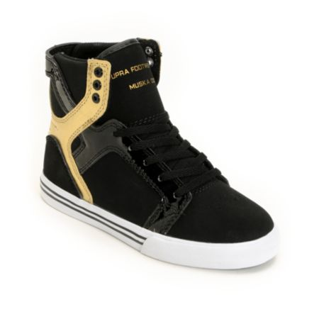 Supra Kids Skytop Black & Gold Shoe