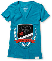Diamond Supply Girls Society Turquoise Tee Shirt