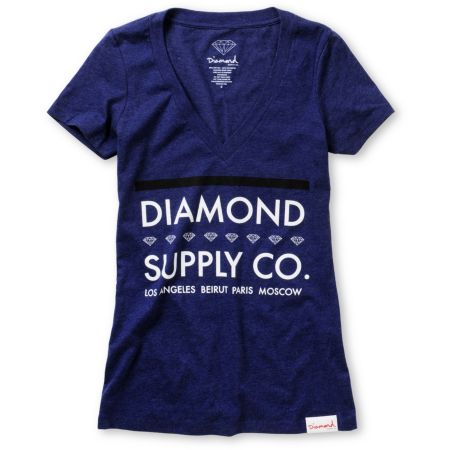 Diamond Supply Girls Roots Dark Blue V-Neck Tee Shirt