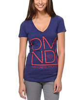 Diamond Supply Girls DMND Dark Blue V-Neck Tee Shirt