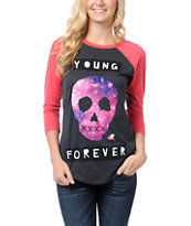 Glamour Kills Young Forever Charcoal & Pink Baseball Tee Shirt