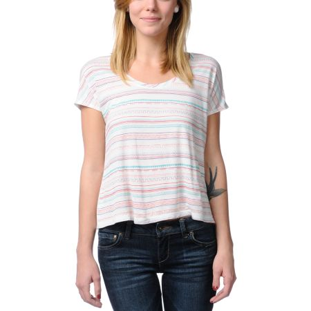 Empyre Girls Cream Hatfield Native Print Tee Shirt