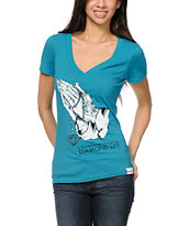 Diamond Supply Girls Treasure Teal V-Neck Tee Shirt
