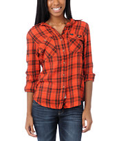 Hurley Girls Wilson Red Plaid Button Up Shirt