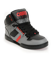 Osiris Kids NYC 83 Black Drip, Grey & Red Skate Shoe