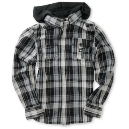 DC Boys Bidwell Black & Grey Plaid Hooded Flannel Shirt