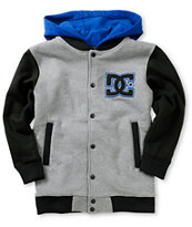 DC Boys Stax Fleece Heather Grey Hooded Varsity Jacket