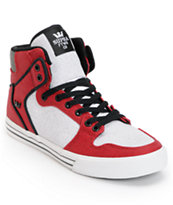 Supra Vaider Red, White & Black Canvas Skate Shoe