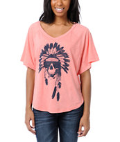 Billabong Girls Wild & Fast Coral V-Neck Tee Shirt