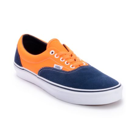Vans Era 2-Tone Neon Orange Dress Blue Shoes