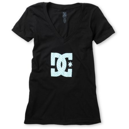 DC Girls Checkstar Black V-Neck Tee Shirt