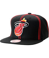 NBA Mitchell and Ness Miami Heat Double Pinstripe Snapback Hat