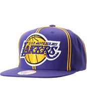 NBA Mitchell and Ness Los Angeles Lakers Double Pinstripe Snapback Hat