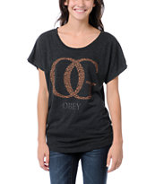 Obey Girls OG Leopard Black Dolman Tee Shirt