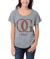 Obey Girls OG Leopard Grey Dolman Tee Shirt