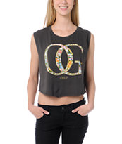 Obey Girls OG Spring Charcoal Voodoo Crop Tee Shirt