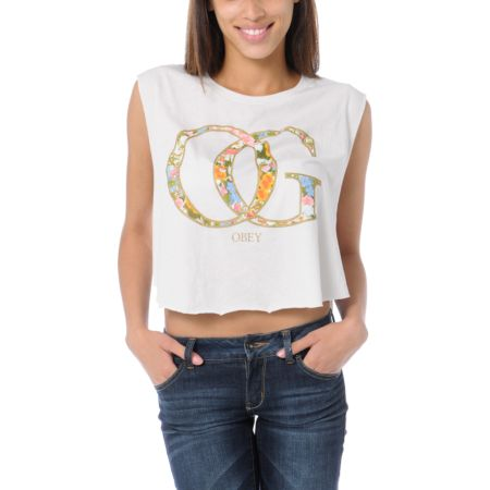 Obey Girls OG Spring Natural Voodoo Crop Tee Shirt