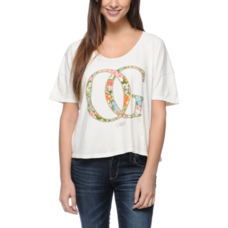 Obey OG Spring Natural Vintage Crop Tee Shirt