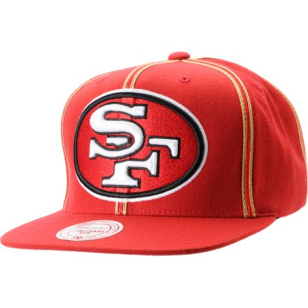 NFL Mitchell and Ness San Francisco 49ers Double Pinstripe Snapback Hat