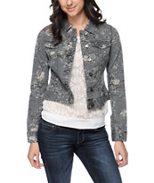 Almost Famous Floral Grey Jean Jacket