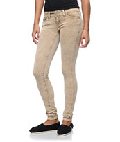 Almost Famous Andrea Camel Acid Wash Skinny Corduroy Pants