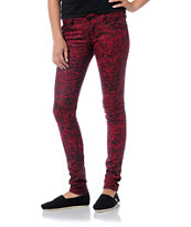 Almost Famous Trisha Red & Black Print Jeggings