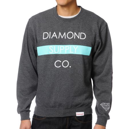 Diamond Supply Co. Bar Charcoal Crew Neck Sweatshirt
