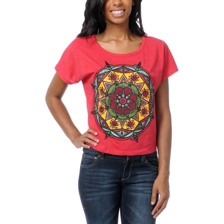 Empyre Girls Mandala Sun Heather Red Crop Tee Shirt