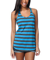 Zine Girls Hawaiian Ocean Charcoal Striped Racerback Tank Top