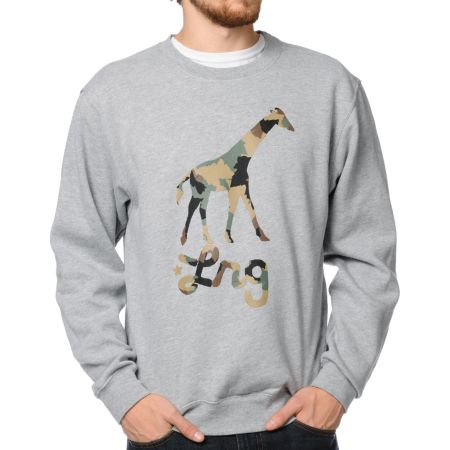 LRG Camo Giraffe Heather Grey Crew Neck Sweatshirt