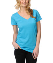 Zine Girls Hawaiian Ocean Blue V-Neck Tee Shirt