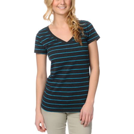Zine Girls Charcoal & Hawaiian Striped V-Neck Tee Shirt